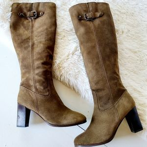 MICHAEL Michael Kors Suede Tall Pull-On Heel Boots